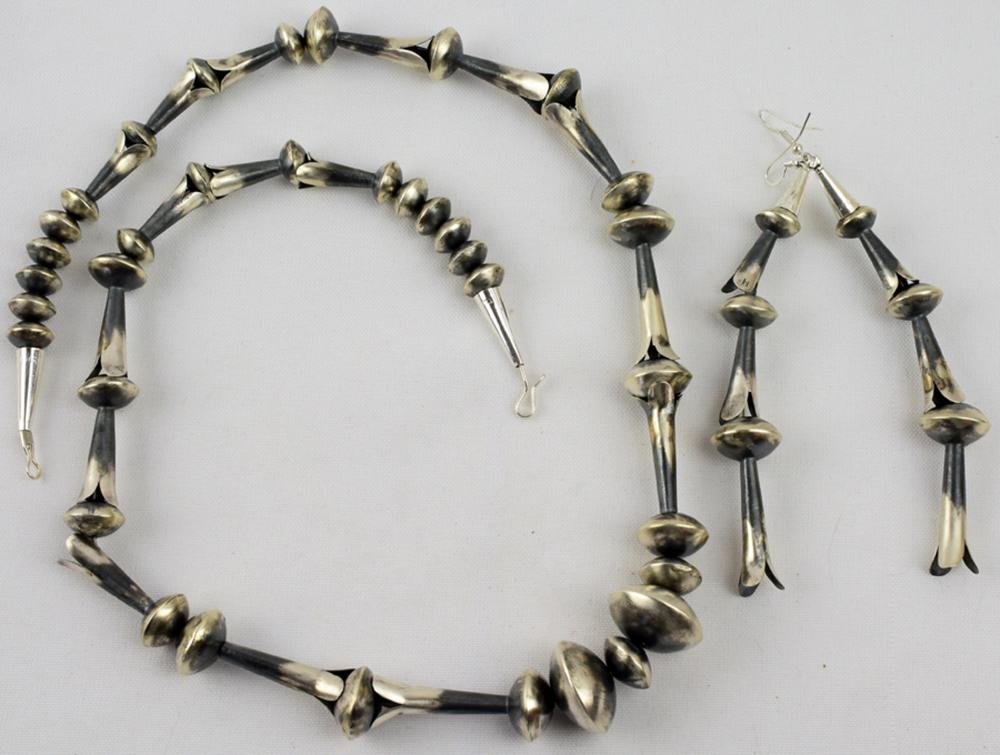 Navajo Sterling Silver Blossom Necklace & Earrings