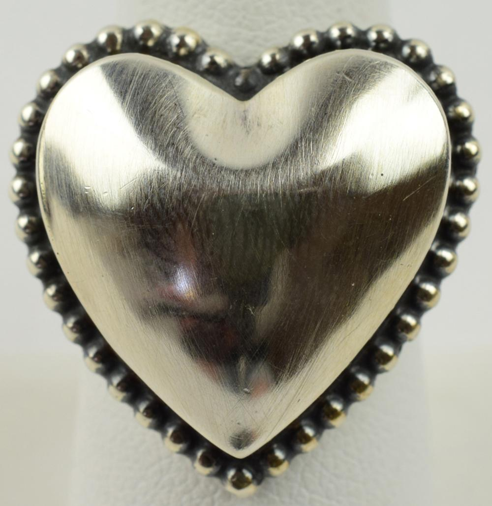 Native American Sterling Silver Puffy Heart Ring