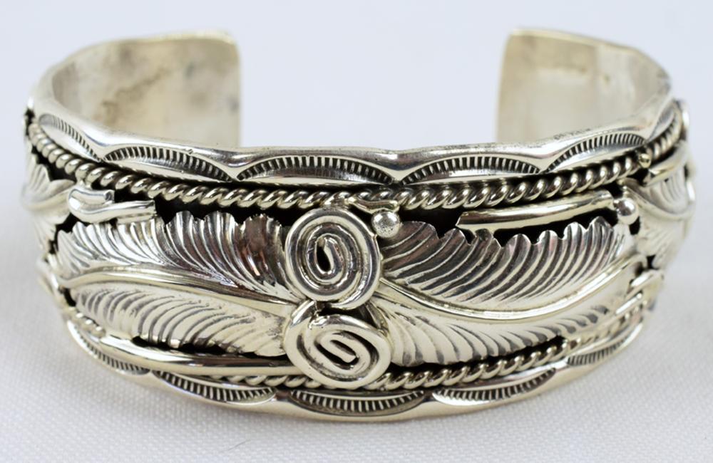 Native American Sterling Ornate Feather Cuff