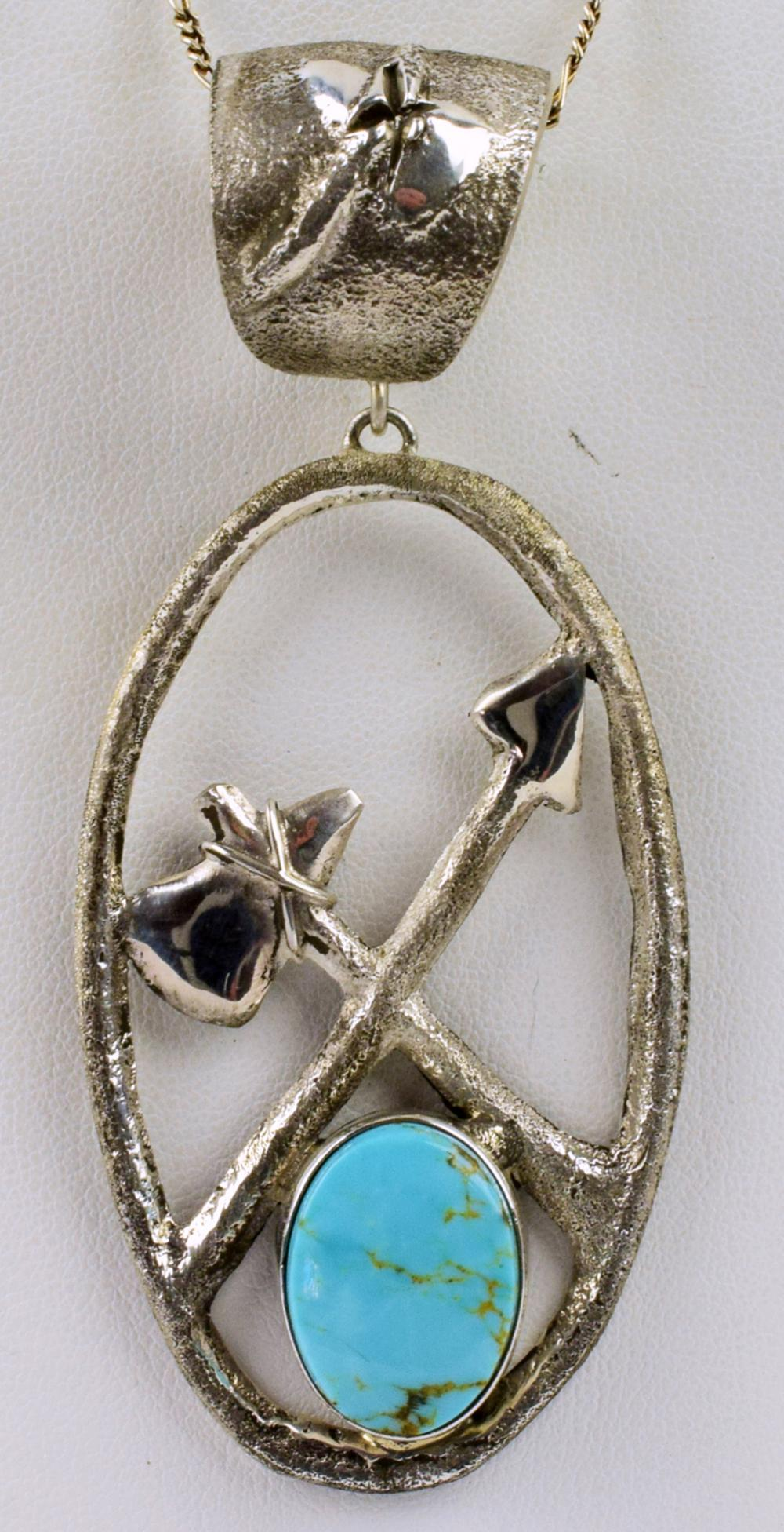 Navajo,Sterling Tufa Cast Hatchet and Arrow Pendant