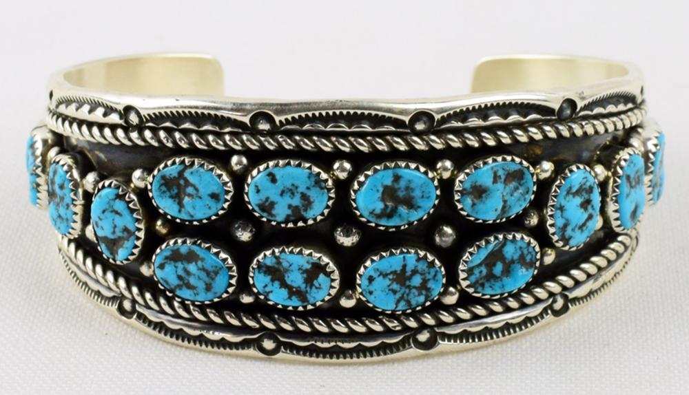 Navajo, C Wylie Sterling Turquoise Nugget Bracelet