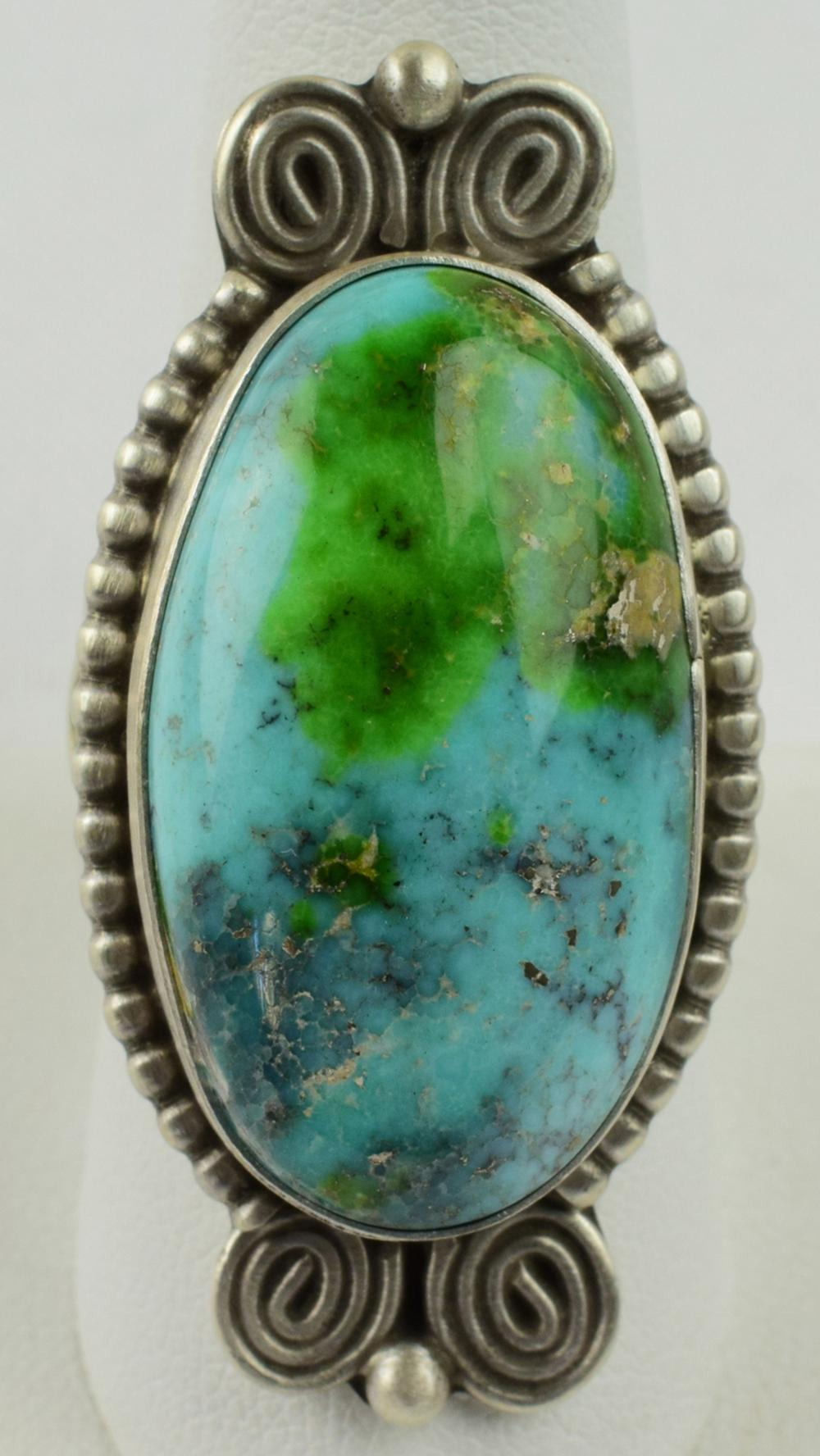 Native American Sterling Silver Royston Turquoise Ring