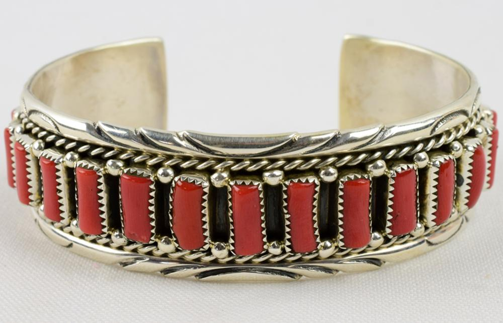 Navajo Sterling Silver Coral Row Cuff Bracelet