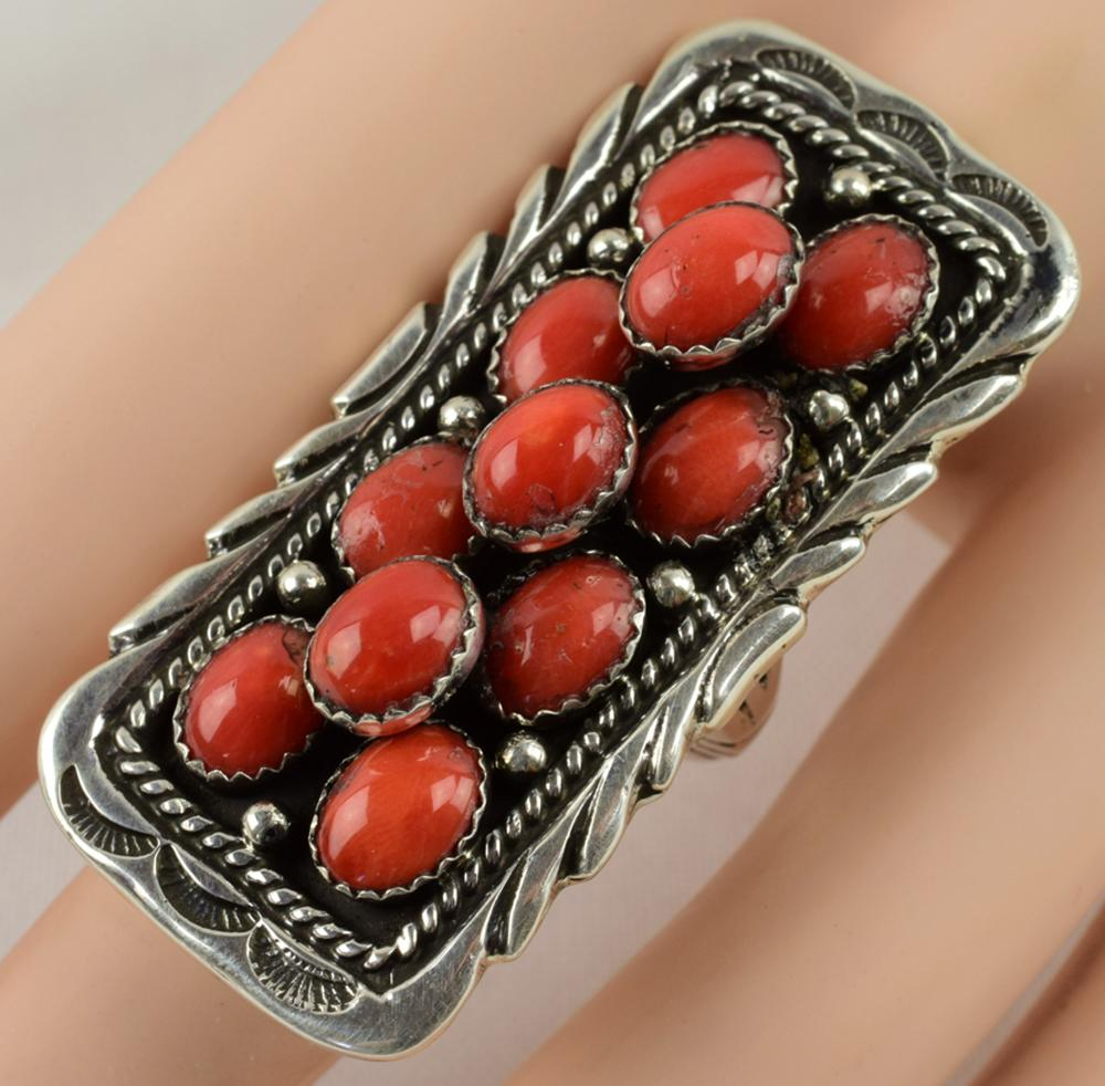 Navajo, Emer Thompson Sterling Silver Coral Ring