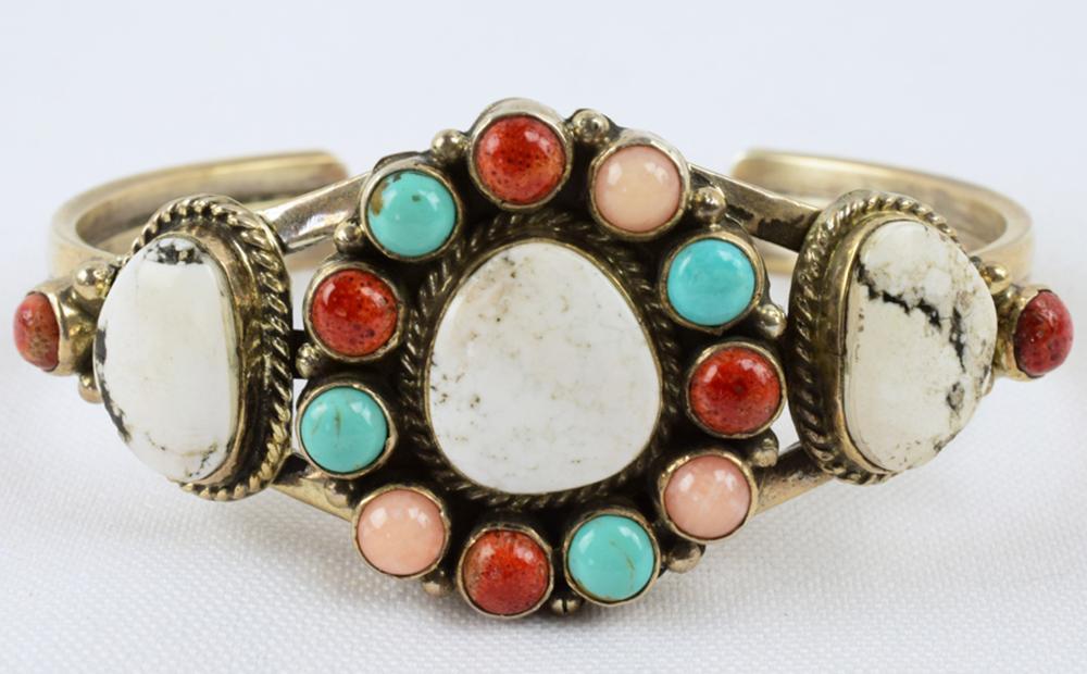 Navajo Sterling Silver Multi-Stone Cuff  - Daniel Mike