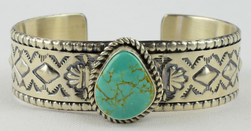 Navajo, Jeff James, Jr. Sterling Stamped Bracelet