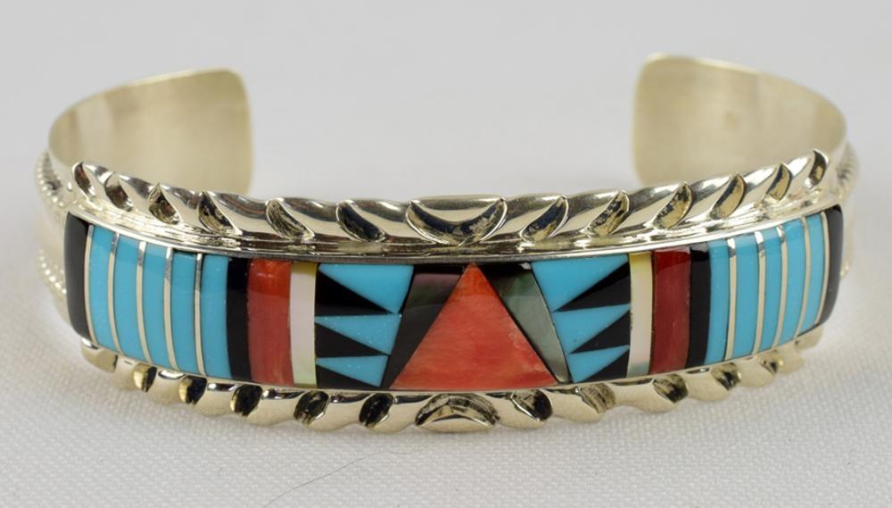 Zuni Sterling Silver Multi Stone Inaly Bracelet