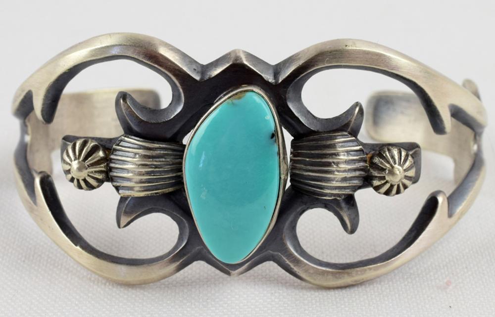 Navajo Sterling Silver Sand Cast Turquoise Bracelet