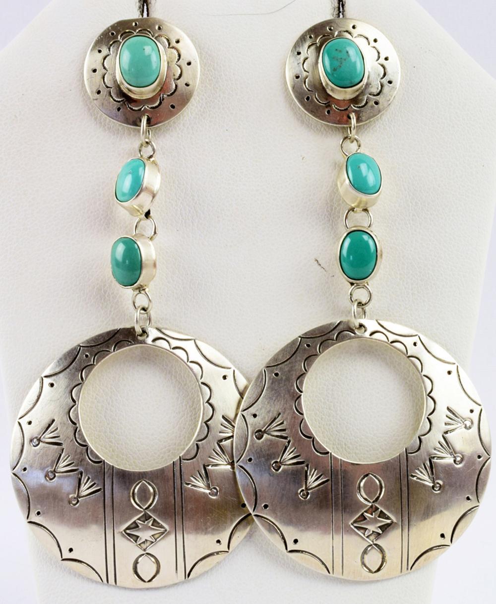 Navajo Sterling Silver Long Earrings w/Turquoise