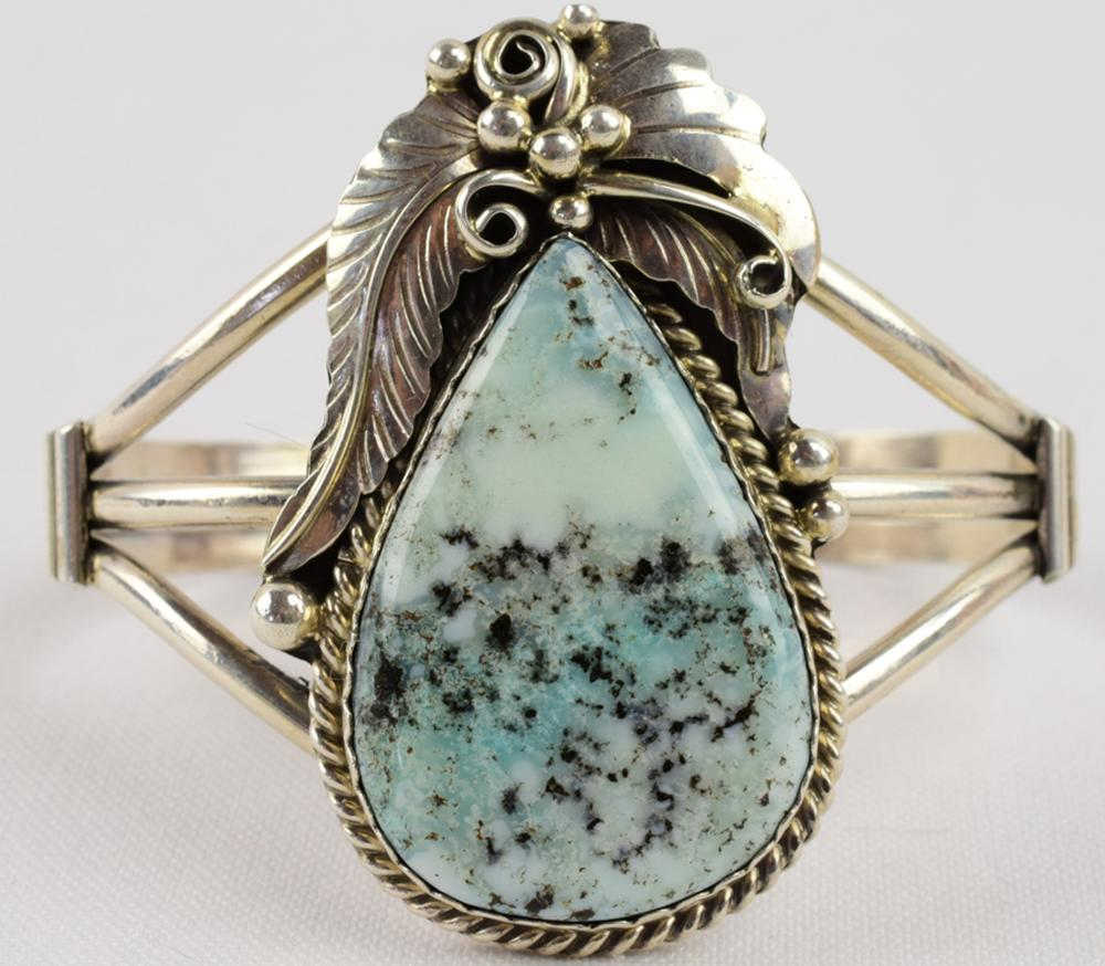Augustine Largo Sterling Candelaria Turquoise Bracelet