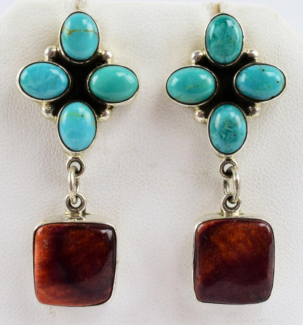 D. Delgarito Sterling Turquosie & Spiny Oyster Earrings