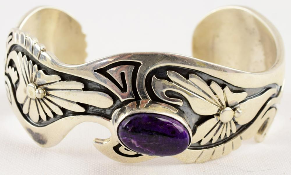 Native American Sterling Spiny Oyster Overlay Cuff