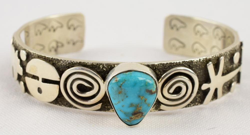 Alex Sanchez Navajo Sterling Petroglyph Cuff Bracelet
