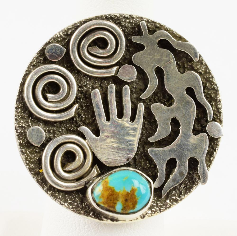 Navajo, Alex Sanchez Sterling Petroglyph Round Ring
