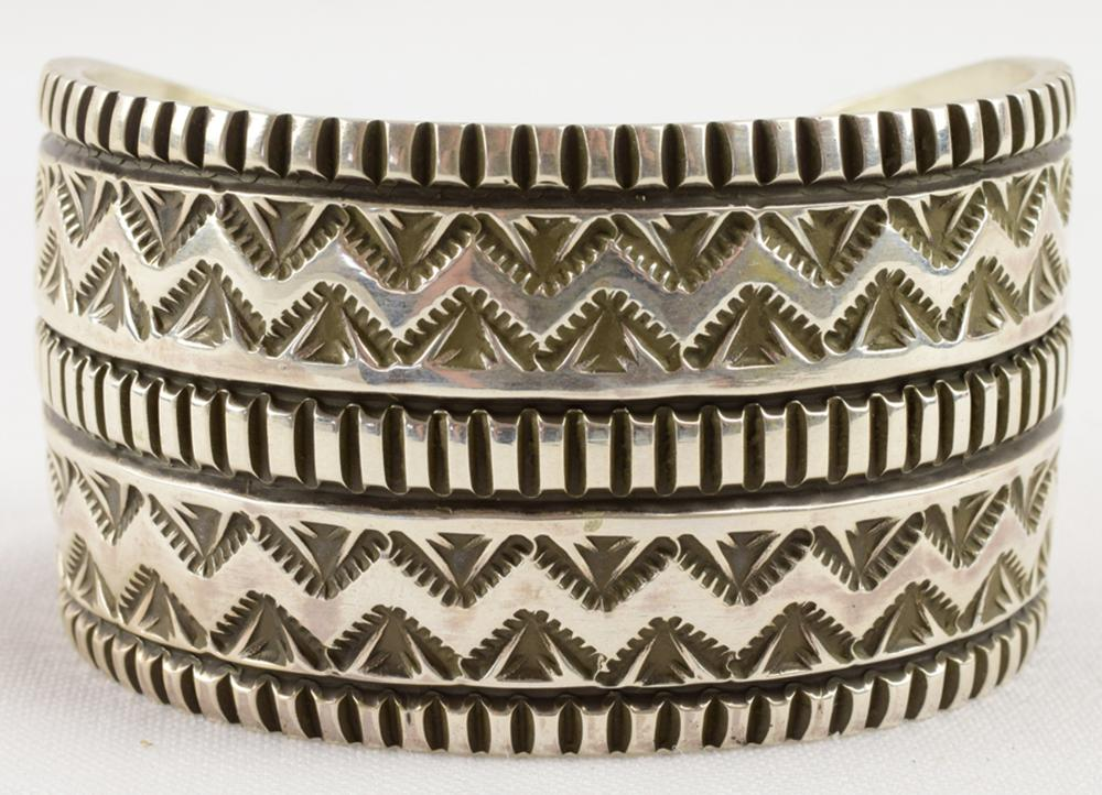 Navajo, Elvira Bill Heavy Wide Stamped Cuff Bracelet