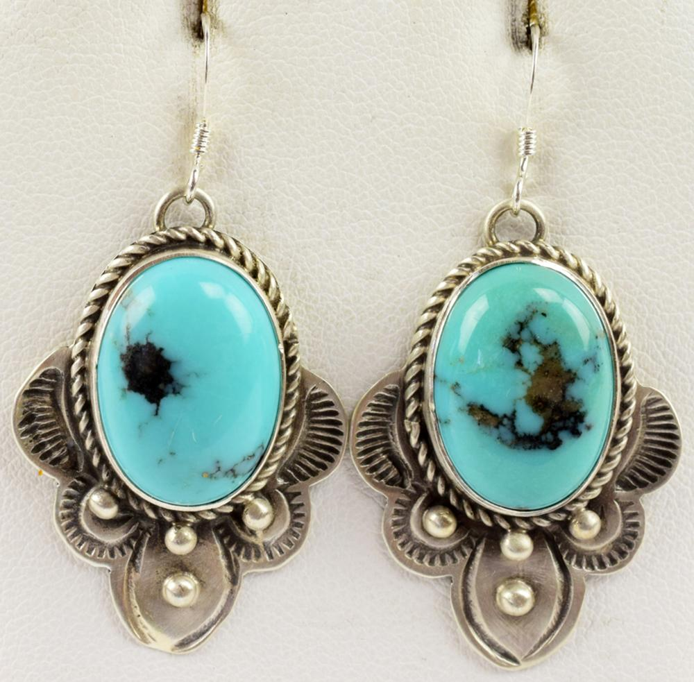 Navajo Sterling Hand Stamped Earrings w/Turquoise