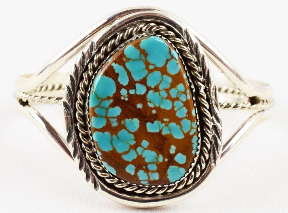 Navajo Sterling Kingman Spiderweb Turquoise Bracelet