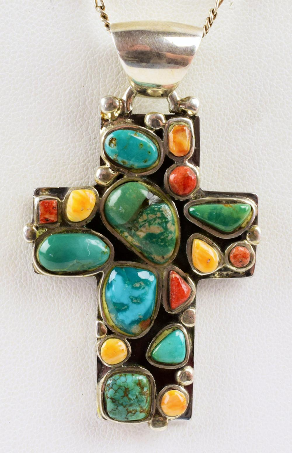 Navajo Sterling Turquoise and Spiny Oyter Cross Pendant