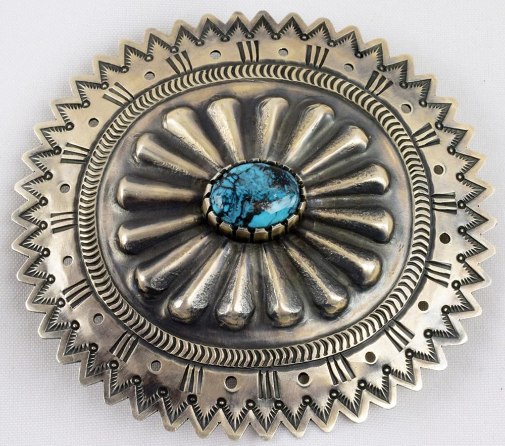 Huge Masterpiece Belt Buckle with New Lander Turquoise