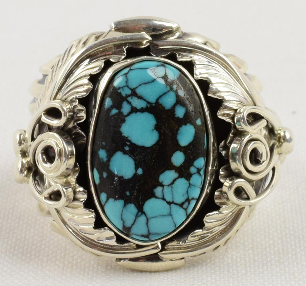 Navajo Sterling Men's Ring with New Lander Turquoise