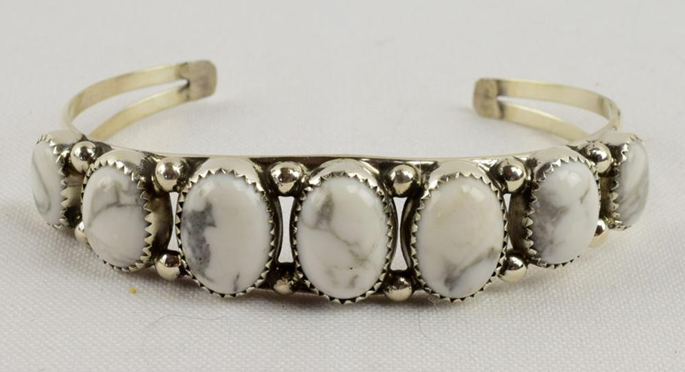 Navajo Sterling White Buffalo {Howlite} Turquoise Cuff
