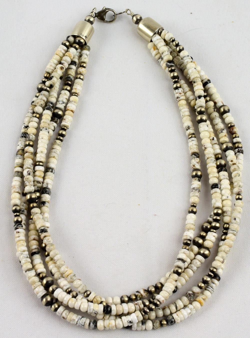 Native American 5 Strand White Buffalo Bead Necklace