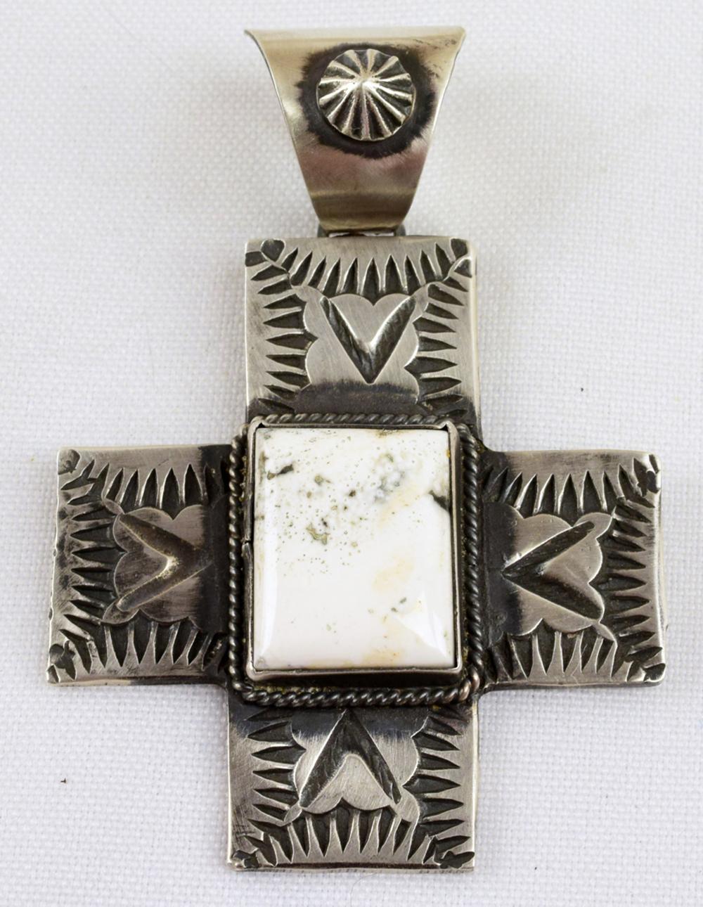 Native American Sterling White Buffalo Cross Pendant
