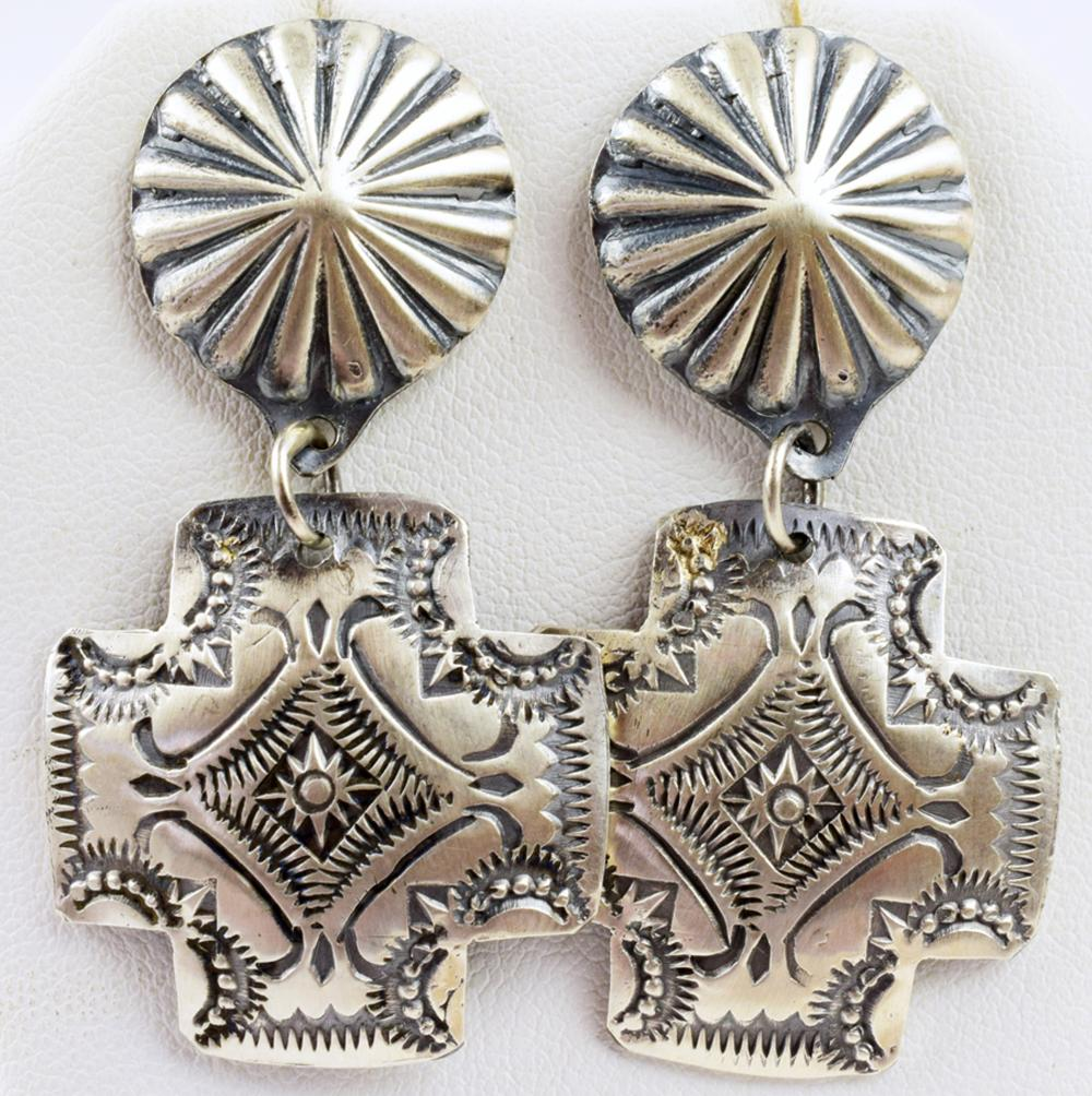 Navajo, Vincent Platero Sterling Concho Cross Earrings