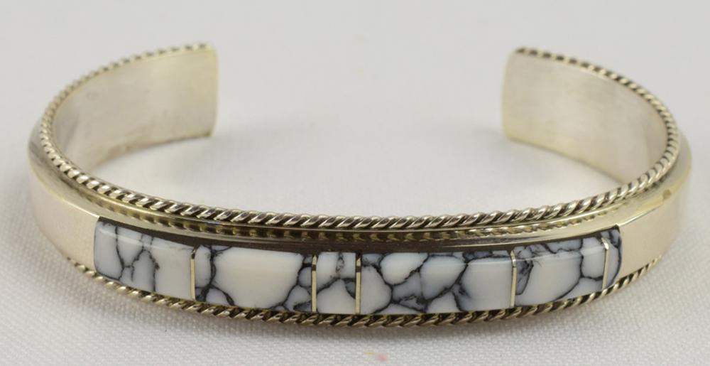 Navajo Sterling White Buffalo Inlay Cuff Bracelet