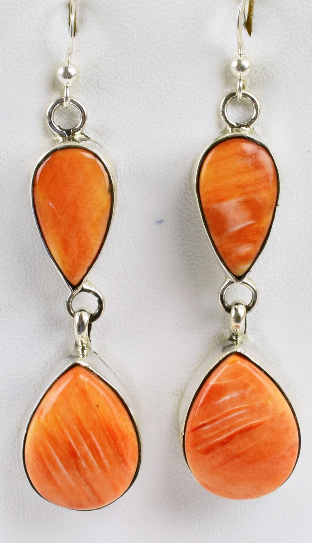 Navajo Sterling Silver Spiny Oyster Tear Drop Earrings