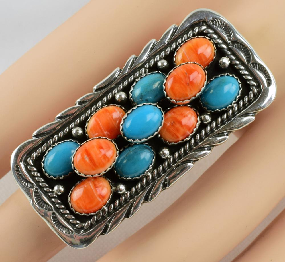 Emer Thompson Sterling Turquoise & Spiny Oyster Ring