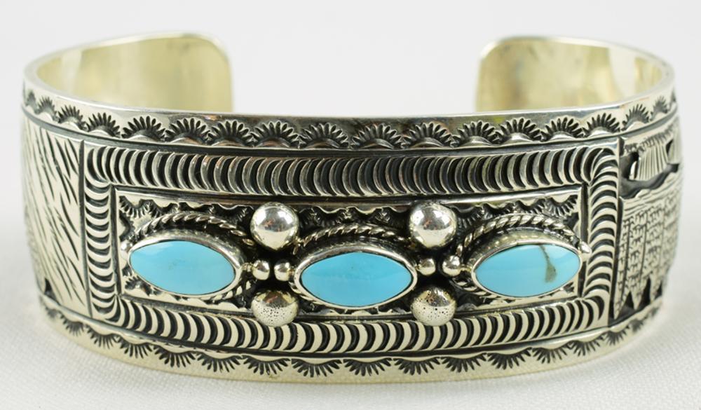 June Delgarito Sterling Turquoise  & Horse Bracelet