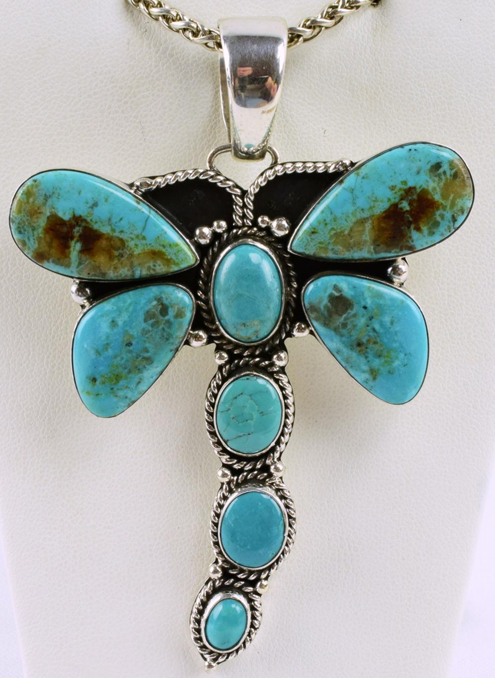 Navajo Sterling Turquoise Dragonfly Pendant- E Richards