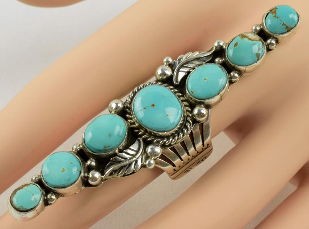 Geraldine James Sterling Long Turquoise & Feather Ring