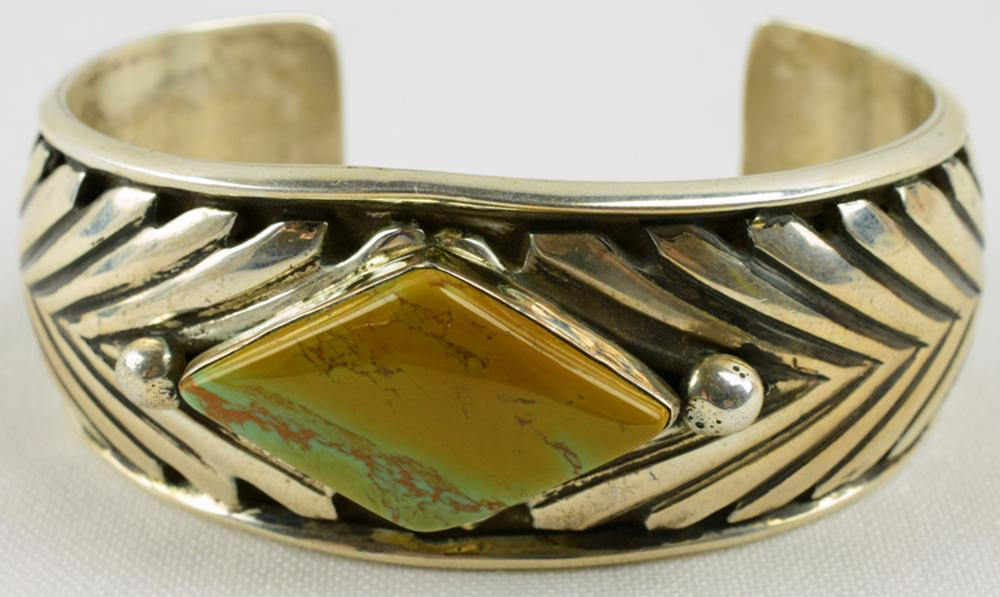 Navajo Sterling Silver Green Turquoise Cuff-Tahe