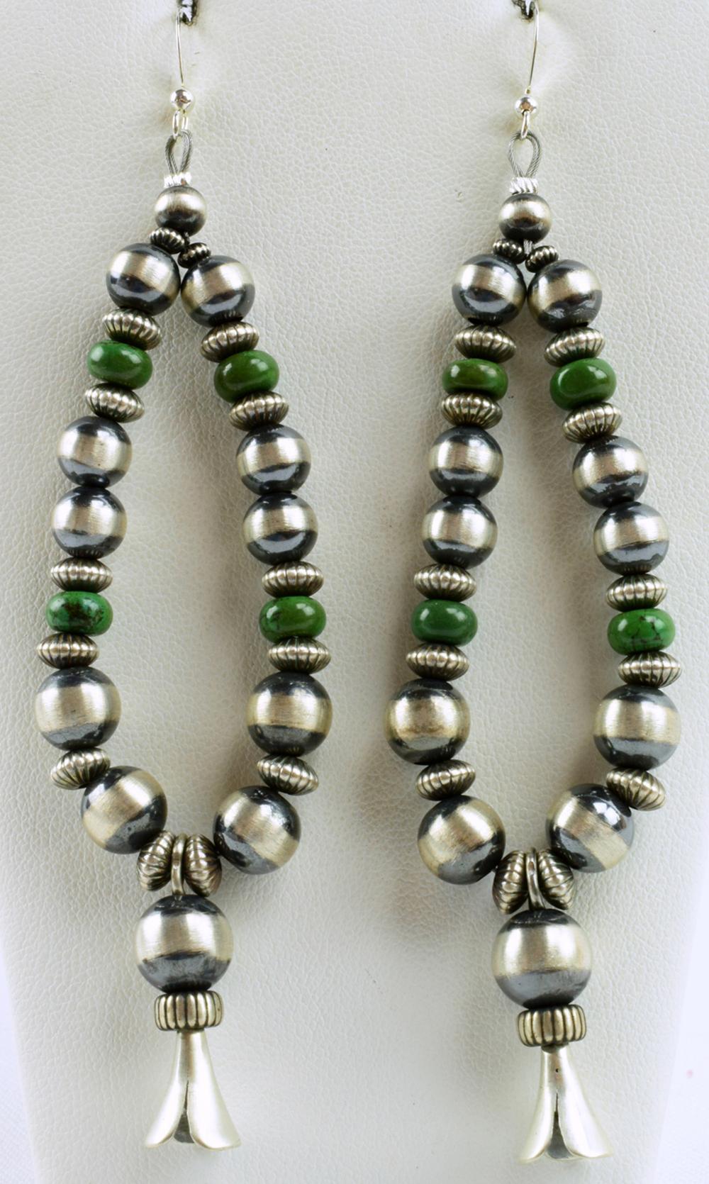 Navajo Sterling Squash Blossom Bead Earrings w/Turq.