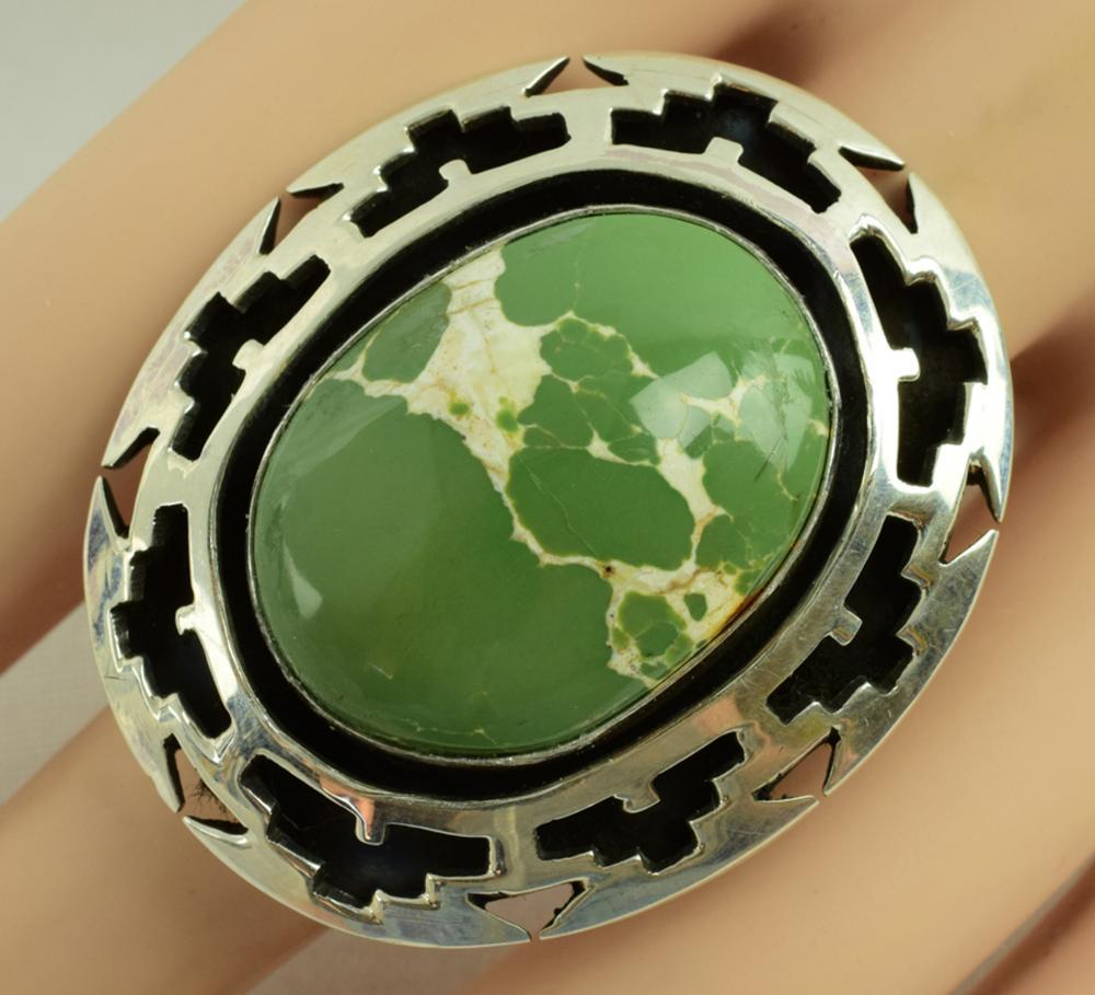 Navajo Sterling Green Turquoise Shadowbox Ring-Joe Paul