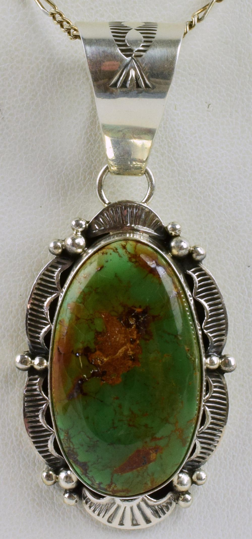 Royston Sterling Turquoise Pendant by Mary Ann Spencer