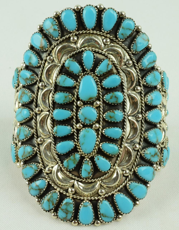 Navajo Sterling Silver Block Turquoise Cluster Bracelet