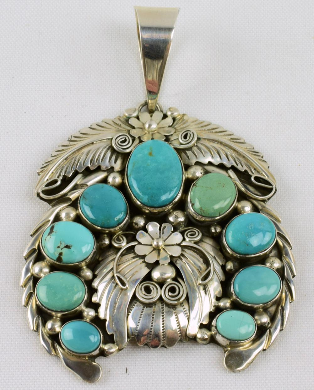 Navajo Sterling Silver Turquoise & Feather Naja Pendant