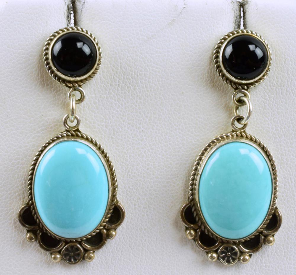 Navajo Sterling Turquoise & Onyx Earrongs-D. Delgarito