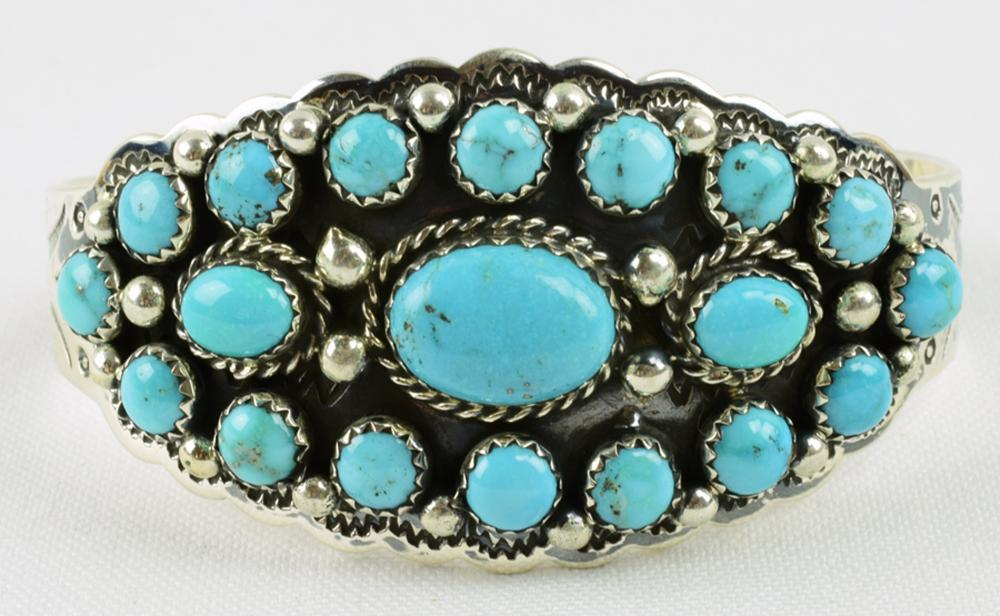 T. Hasteen Sterling Natural Turquoise Cluster Cuff
