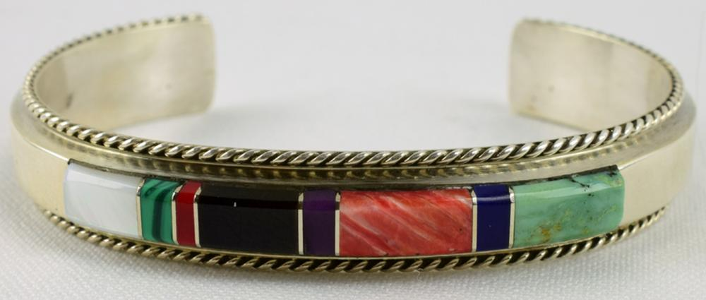 Native American Sterling Multi-Stone inlay Bracelet