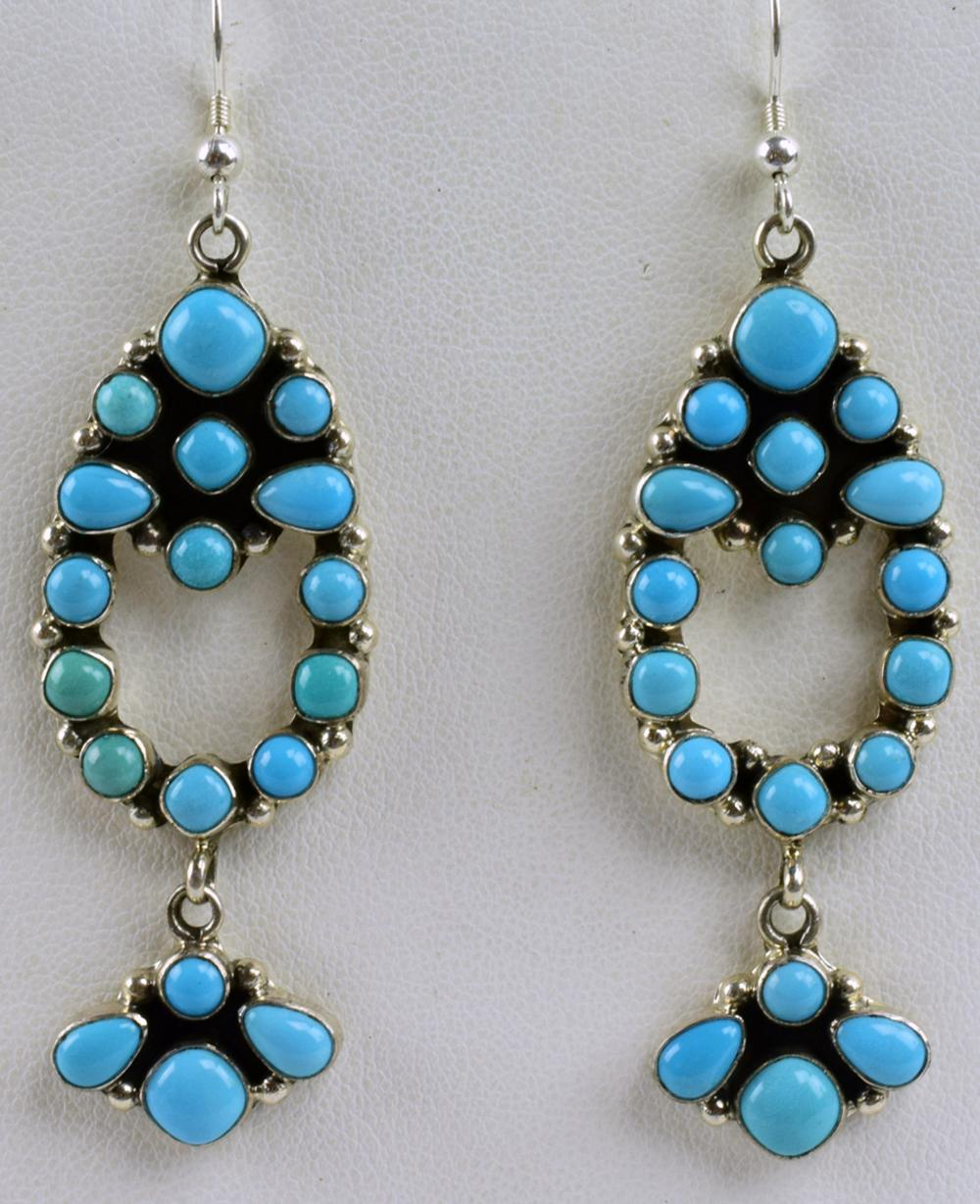 Navajo Sleeping Beauty Turquoise Earrings-Emma Lincoln