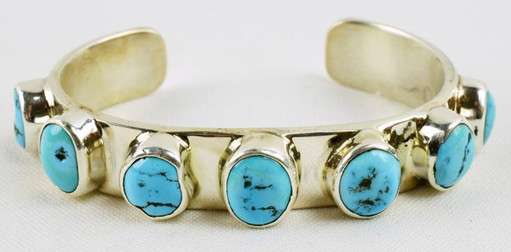 Navajo Sleeping Beauty Turquoise Bracelet-Chimney Butte