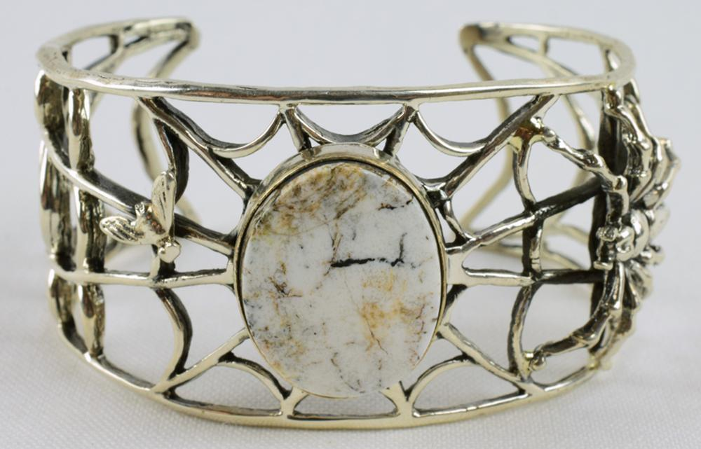 Navajo Sterling White Buffalo Turquoise Spider Bracelet