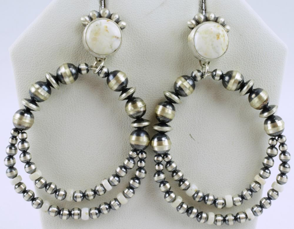 Navajo Bench Bead & White Buffalo Turquoise Earrings