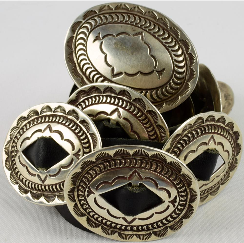 Navajo Sterling Silver Vintage Concho Belt