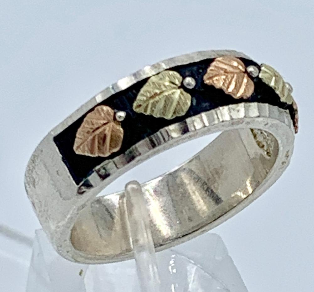 STERLING AND 12K GOLD BAND, SIZE 10