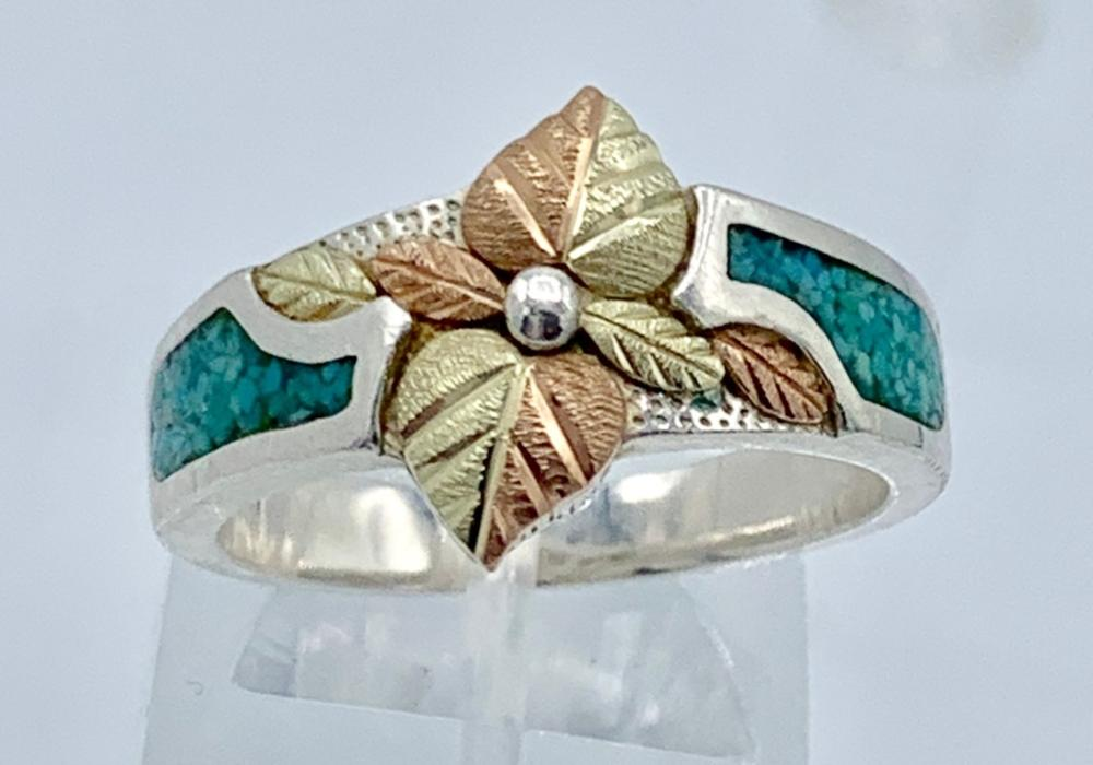 STERLING SILVER AND 12K GOLD RING